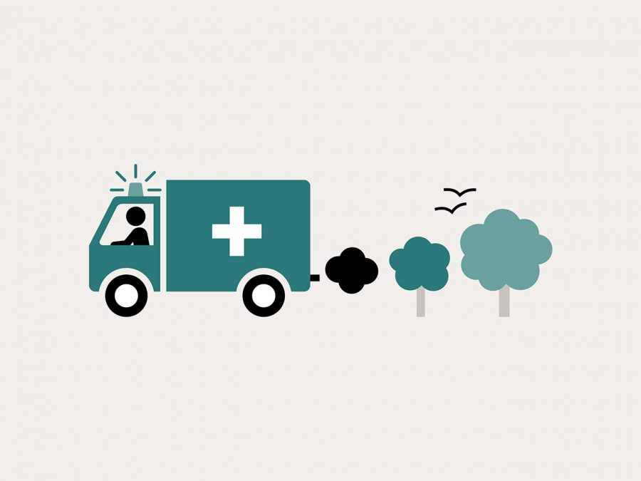 Image of an ambulance whose exhaust converts to trees. The Health Foundation's Healthy Lives series includes infographics that describe and explain the social determinants of health in an accessible and engaging way.